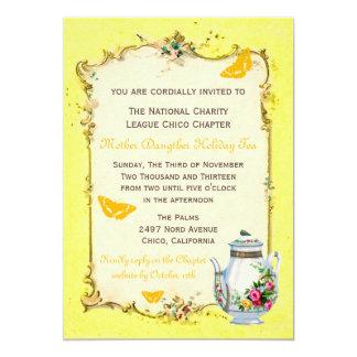 Yellow Vintage French Holiday Tea Party Custom Invitation