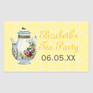 Yellow Vintage French Tea Party Favor Stickers
