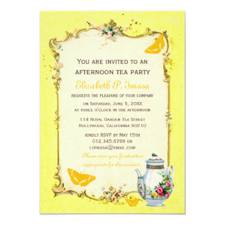 "Yellow Vintage French Tea Party 5"" X 7"" Invitation Card"