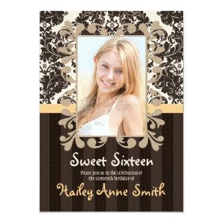 Yellow Vintage Lace Damask Sweet Sixteen Card
