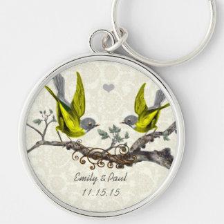 Yellow Vintage Love Birds Wedding Key Chain