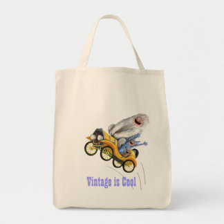 Yellow Vintage Monster Car Tote Bags