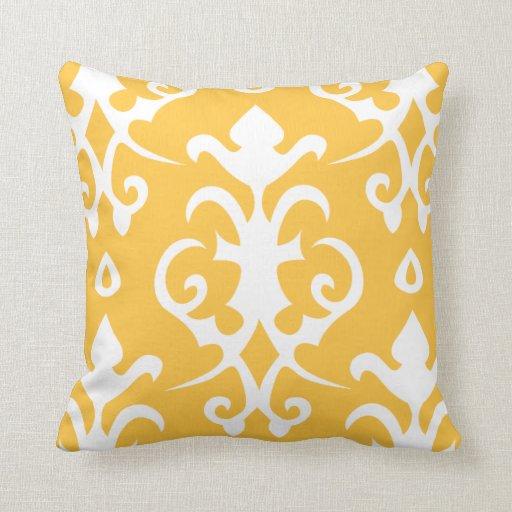 Yellow Vintage Pattern Damask Pillow
