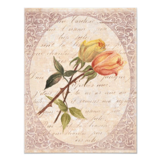 Yellow Vintage Roses Garden Birthday Party Card
