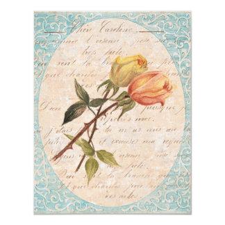 Yellow Vintage Roses Garden Birthday Party Invites