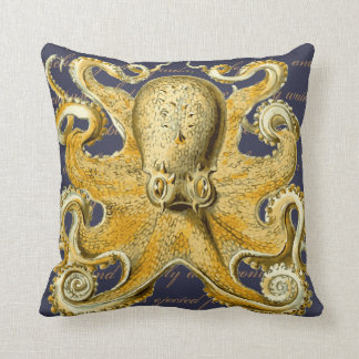 Yellow Vintage Sea Creature Octopus Nautical Throw Pillow