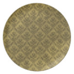 Yellow Vintage Wallpaper Dinner Plates