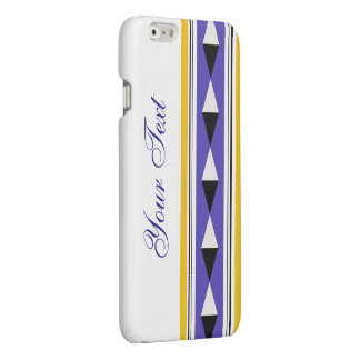Yellow Violet Geometric Pattern with Custom Text Glossy iPhone 6 Case