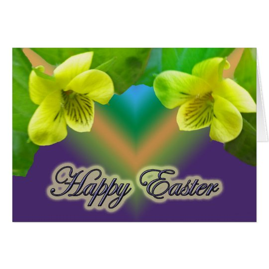 Yellow Violet Happy Easter Card