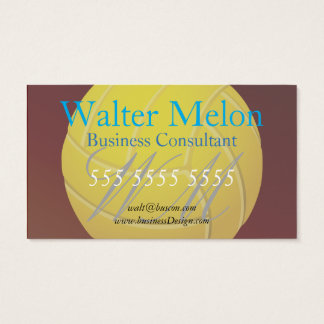 Yellow Volleyball Earthy Red Background Business Card
