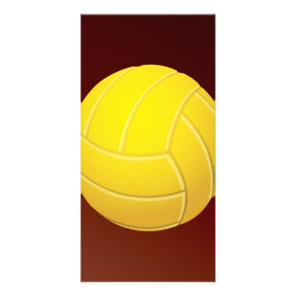 Yellow Volleyball Earthy Red Background Card