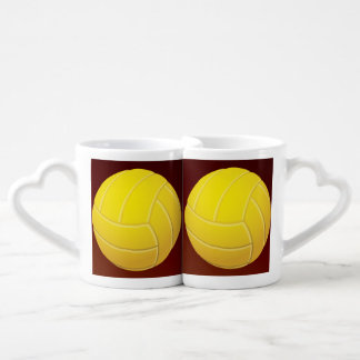 Yellow Volleyball Earthy Red Background Coffee Mug Set