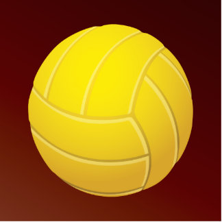 Yellow Volleyball Earthy Red Background Cutout