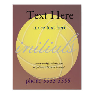 Yellow Volleyball Earthy Red Background Flyer