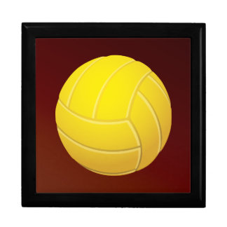 Yellow Volleyball Earthy Red Background Keepsake Box