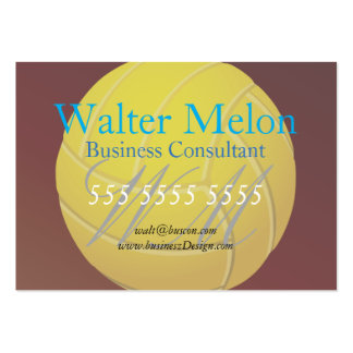 Yellow Volleyball Earthy Red Background Large Business Cards (Pack Of 100)