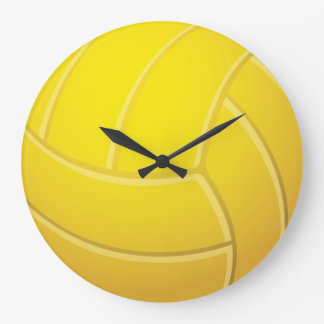 Yellow Volleyball Earthy Red Background Large Clock