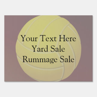 Yellow Volleyball Earthy Red Background Lawn Sign