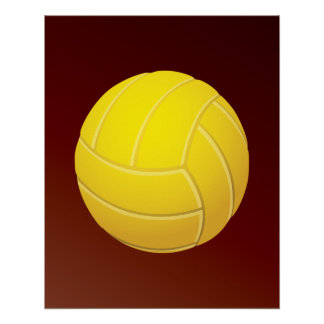 Yellow Volleyball Earthy Red Background Poster