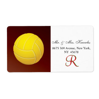 Yellow Volleyball Monogram Name Shipping Label