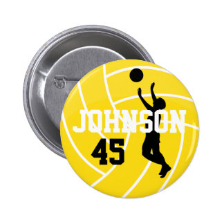 Yellow Volleyball with Silhouette Player Button