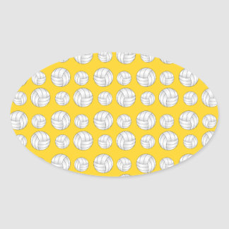 Yellow volleyballs pattern oval sticker