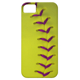 Yellow w/Purple Stitches Baseball/Softball iPhone SE/5/5s Case