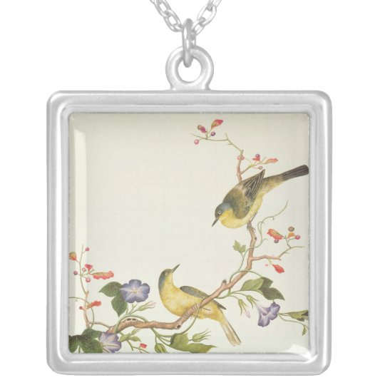 Yellow Wagtail with blue head Silver Plated Necklace