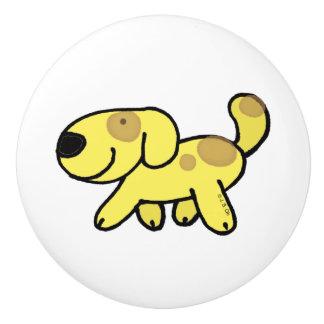 yellow walking dog ceramic knob