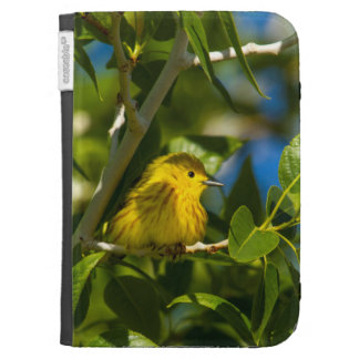 Yellow Warbler In Tree Near Augusta, Montana Kindle Folio Cases