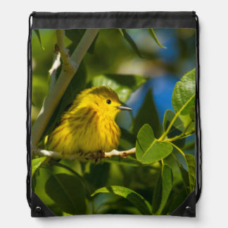 Yellow Warbler In Tree Near Augusta, Montana Cinch Bags