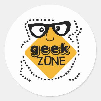 Yellow Warning Geek Zone Classic Round Sticker