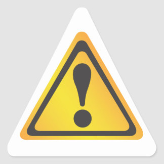Yellow Warning Label Triangle Sticker