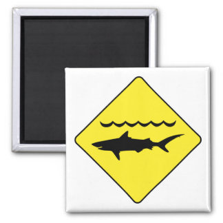 Yellow 'warning sharks' sign magnet