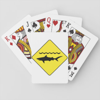 Yellow 'warning sharks' sign poker deck