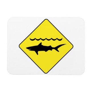 Yellow 'warning sharks' sign rectangular magnet