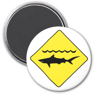 Yellow 'warning sharks' sign round magnet