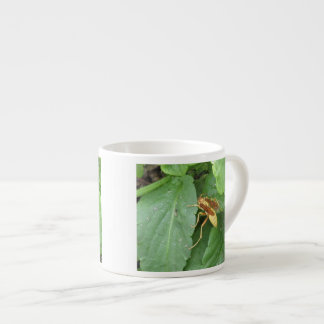 Yellow Wasp Straddling Leaves Espresso Cup