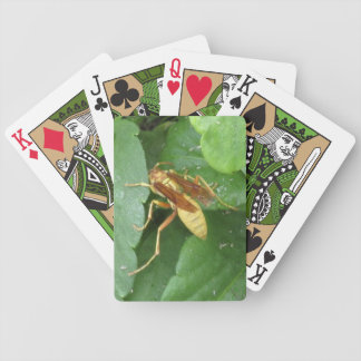 Yellow Wasp Straddling Leaves Playing Cards