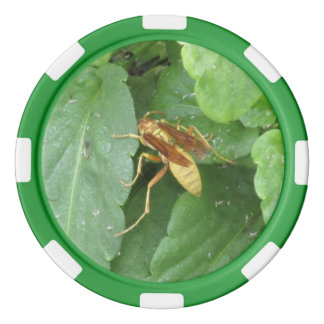 Yellow Wasp Straddling Leaves Poker Chips