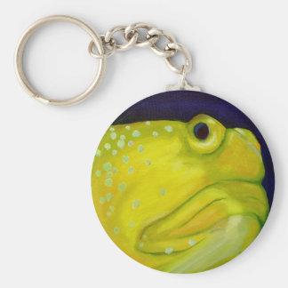 Yellow Watchman Goby Fish Basic Round Button Keychain