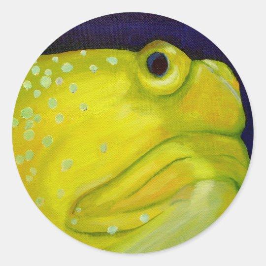 Yellow Watchman Goby Fish Classic Round Sticker
