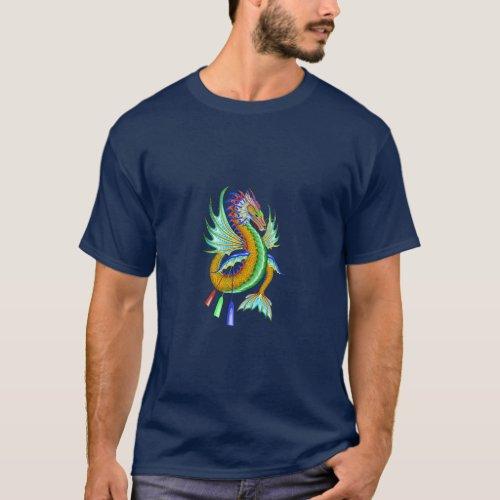 Yellow Water Dragon on a Dark Blue T_Shirt