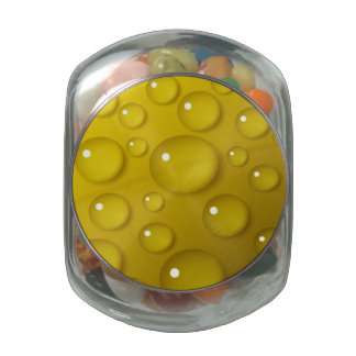 Yellow Water Drop Background Jelly Belly Candy Jar