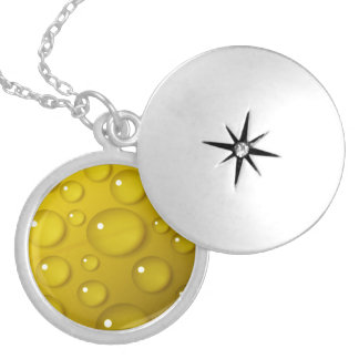Yellow Water Drop Background Silver Plated Necklace