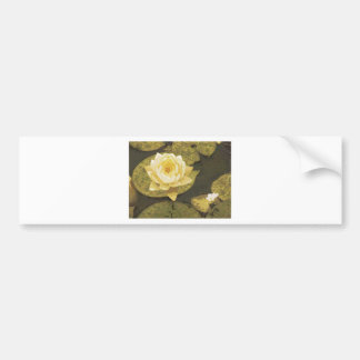 Yellow Water Lily Drawing Car Bumper Sticker