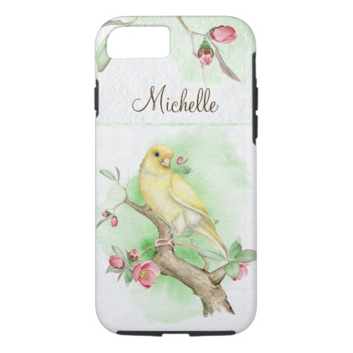 Yellow Watercolor Bird and Pink Flowers Phone Case
