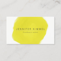 Yellow Watercolor Brush Circle Business Card