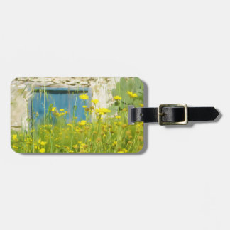 Yellow watercolor flowers bag tag
