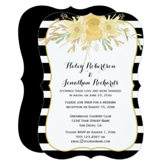 Yellow Watercolor Flowers Gold Sparkles Weddings Card